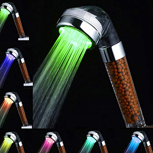 Amison - Soffione doccia a LED, cambia colore, a risparmio idrico, 7 colori, automatico, ad alta pressione, con filtro Anion