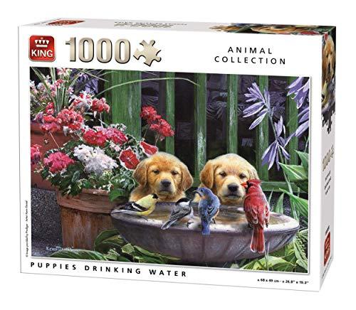King 5668 Puppies Agua Potable Perros Jigsaw Puzzle 1000 Piezas, 68 x 49 cm