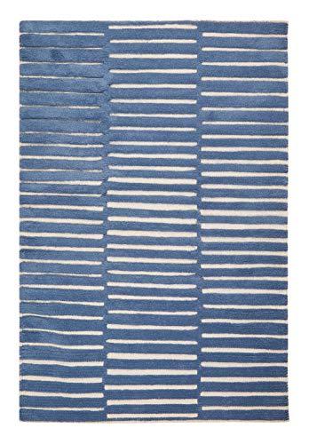Hochwertiger Jugendteppich aus Wolle Kinderzimmer Wollteppich mit Streifen in blau natur weiss...