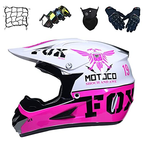 Casco Motocross Niños, Casco Moto Niñas Set con Gafas/Guantes/Máscaras/Red Bungy, Casco Motocicleta Integral para Scooter Descenso Enduro BMX MTB Quad ATV - con Diseño Fox, Rosa,S