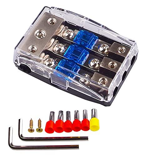 3 웨이 퓨즈 홀더 구리 분배 블록 0GA (4 | 6 | 8 | 10) GA - 4 (6 | 8 | 10) GA 60 AMP ANL + 황동 터미널 (랜덤 컬러) + 육각 렌치 + 자체 태핑 나사