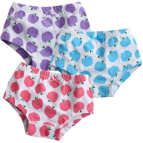 Vaenait pour bébé 2–7 ans enfants filles Sous-vêtements Slip 3-pack Lot de pommier - - Large