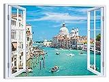 LuxHomeDecor - Cuadro de ventana sobre Venecia de 100 x 75 cm, impresin sobre lienzo con marco de madera, decoracin artstica moderna