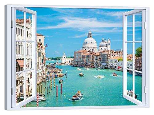 LuxHomeDecor Cuadro de ventana sobre Venecia 100 x 75 cm Impresión sobre lienzo con marco de madera Decoración Arte Decoración Moderno