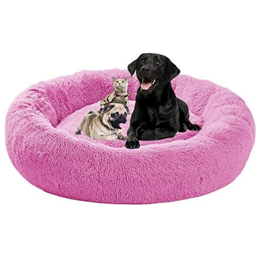 ping bu Cama Perros Redonda,Camas de Lujo para Perros Grandes,cojín Gatos sofá para Perros Donut Camas de Gatos Perros de Donut con Parte Inferior Antideslizante,Cómodo Suave y Cálida Cama