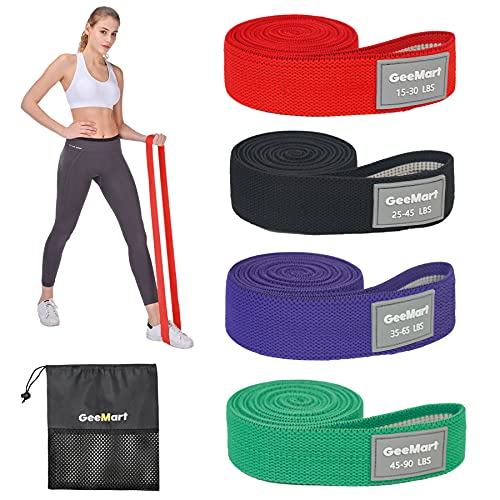 GeeMart Long Resistance Bands Set Fabric Exercise Bands Resistance for Women Elastic Workout Bands for Full Body, Heavy Duty Stretch Fitness Bands Pull Up Assistance Resistance Bands Set of 4
