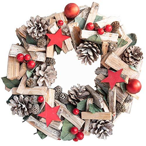 DQM kerstslinger van rotan, kroon met hanger in cirkelvorm, geschikt om op te hangen aan de muur of aan de ruimten van het raam