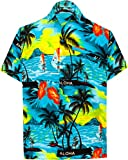LA LEELA Men's Palm Tree Fashion Short Sleeve Hawaiian Shirt 5XL Teal Blue_W363
