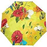 Vintage Floral Flores Rojas Amarillo Auto Abrir Cerrar Sol Lluvia Paraguas