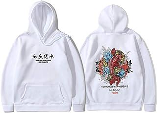 Moda 2019 Nuevos Hombres Cool Hip Hop Hoodies con Capucha Estilo japonés Koi Casual Sudaderas Streetwear Hombres/Mujeres Jersey