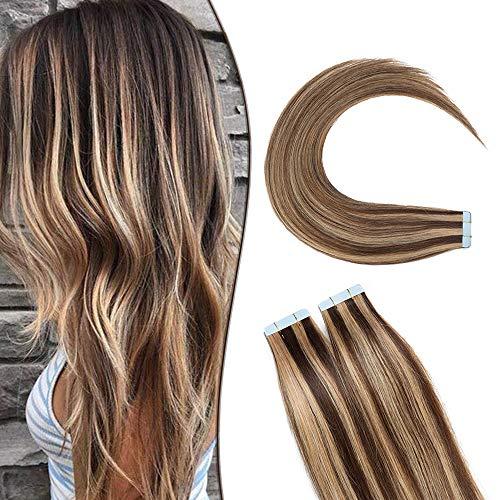 SEGO Extensions Adhesives Cheveux Naturels Bande Adhésif - (Max Epaisseur) 30CM 4P27#Marron Chocolat Mèche Blond Foncé [3g X 20 pcs] - Tie and Dye Ombre