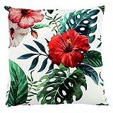 Bada Bing Outdoor Kissen Hibiscus Dekokissen 45 x 45 Tropical Kissen Mit Blätter und Blüten Für...