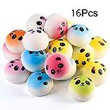 MyMagic 16 Pcs 1.57' Slow Rising Kawaii Multicolored Panda Bread Bun Squishies Mini Stress Balls With Hang Rope ,Phone Key Chain Straps Gift Party Favors (Random Color)