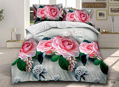 Prime Linens 4 Piece 3D Design Duvet Quilt Cover Complete Bedding Set Fitted Sheet with 2 Pillow Cases (3D Roses Pink 334, Double)