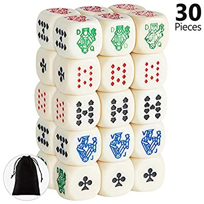 30 Pieces 16 mm 6-Sided Poker Dice, Great for Poker Games and Card Games
