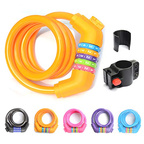 ZHEGE Fahrradschloss, selbstaufwickelndes Kabel, Fahrradschloss, hohe Sicherheit, 5-stellige Kombination, Fahrradschloss mit Montagehalterung für Straße, 110 cm/12 mm, Orange