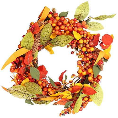 com-four® Türkranz für Herbst und Winter - Adventskranz mit orangen Beeren und Blättern - Dekokranz - Weihnachtsdeko - Tischkranz - Weihnachtskranz - Ø 35 cm