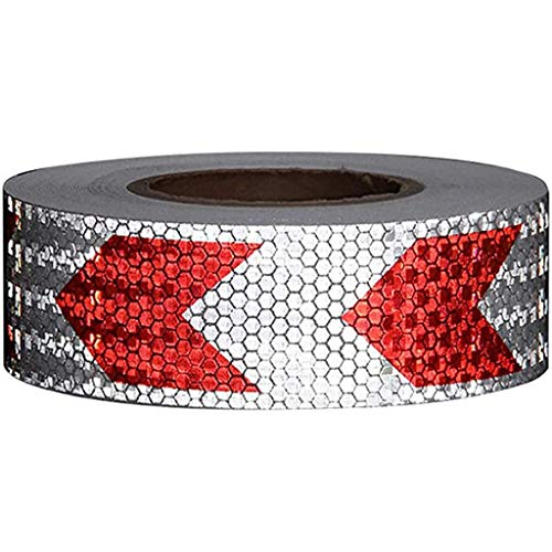 Reflecterende tape Night Conspicuity Arrow MarkReflective Tape Safety Tapes Waarschuwing Strip Sticker van de Pijl (5cm * 28m) (Color : RedWhite, Size : 5cm*28m)