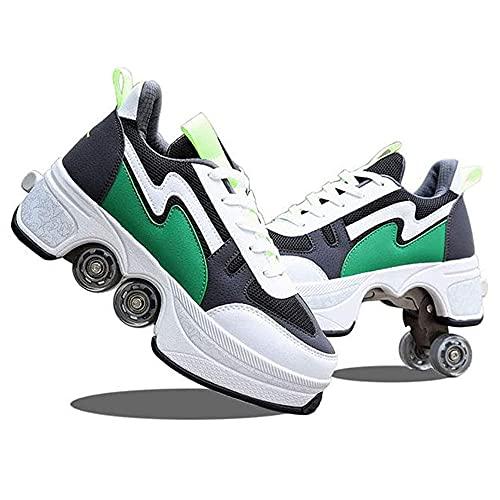 Quad Wrotki, Unisex Buty z Kółkami, Kick Rolkowe Buty Sportowe Dorosłych, Zewnątrz Techniczne Skateboarding Butów WEIJ (Color : A, Size : 39)