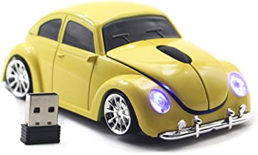 FASBEL for VW Beetle Sports Car Mouse Wireless Mouse Portable Computer Laptop Mice Optical Mouse (Yellow)