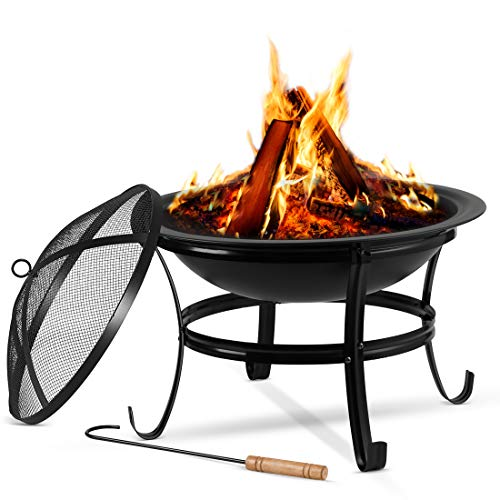 Large Steel Metal Fire Pit for Outdoor Garden Patio Heater Camping Bowl with Lid & Poker , Wood & Coal Burning , Large Black
