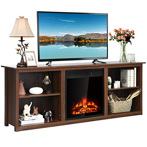 Tangkula Fireplace TV Stand, Entertainment Center w/22.5 Inches Electric Fireplace, Television Stand for TV Up to 75 Inches, Heater with Remote Control & Adjustable Brightness (Walnut)