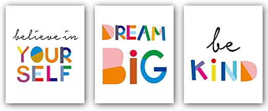 """Watercolor Words Inspirational Quote Modern Minimalist Typography Art Print Set of 3 (8""""X10"""") Canvas Painting,Motivational Quote Phrases Wall Art Poster for Nursery or Kids Room Home Decor,No Frame"""