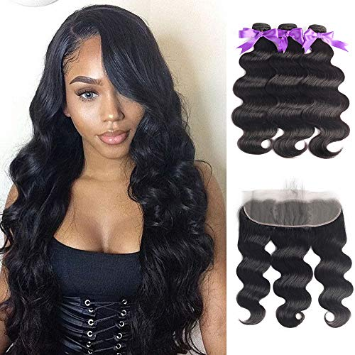 Beaudiva Hair Body Wave Bundles with Frontal (20 22 24+18Frontal) 13×4 Lace Frontal Unprocessed 8A Brazilian Body Wave Human Hair Double Weft with Lace Frontal…