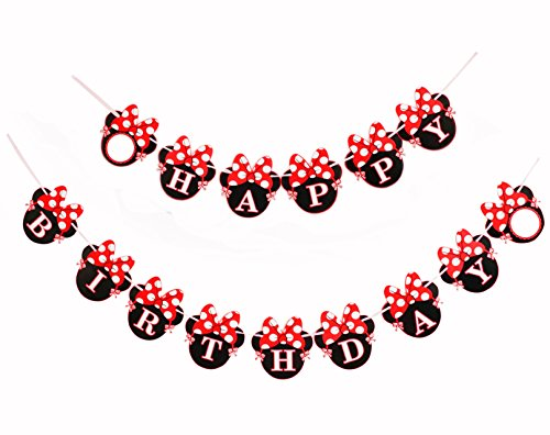 Kristin Paradise Red Minnie Happy Birthday Banner, Mini Mouse Style Party Decorations, Party Supplies, Baby Shower Decor for Girls