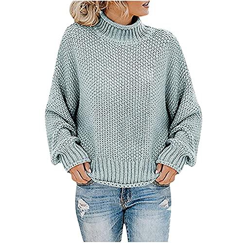 pamkyaemi Sudadera para mujer moderna, suelta, de manga larga, con cuello alto, para exterior, de invierno, para otoño e invierno, verde menta, XL
