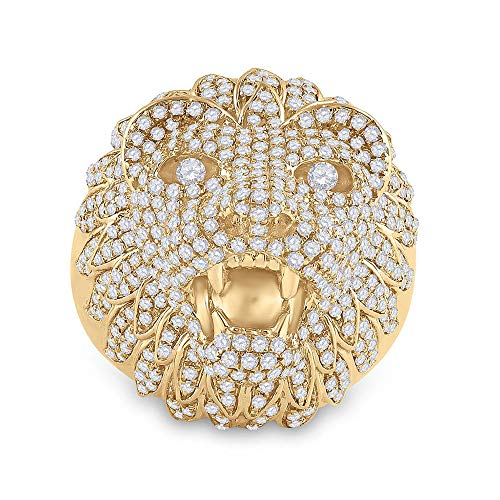 Diamond2Deal Anillo de oro amarillo de 14 quilates para hombre con cabeza de león de diamante redondo de 2-3/4 quilates