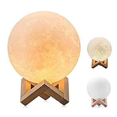 BRIGHTWORLD Moon Lamp, 3D Printing Lunar Lamp Night Light as Kids Women Girls Gift, USB Charging and Touch Control Brightness Two Tone Warm and Cool White 7.1IN (Upgraded Version)