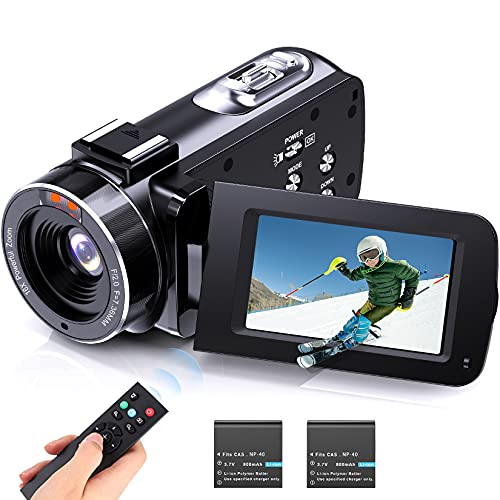 VideoKamera Camcorder 1080p 30FPS 36MP 16X digital Zoom, IR Nachtsicht, 3 Zoll 270° Drehbar Handycam mit Fernbedienung, FHD YouTube Vlogging Kamera Tragbare, Pause/Zeitraffer/Zeitlupen