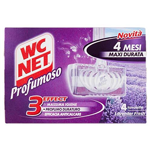 Wc Net - Tavoletta Profumoso 3 Effect, Detergente Igienizzante Solido per WC, Fragranza Lavender Fresh, 4 Pezzi x 1 Confezione