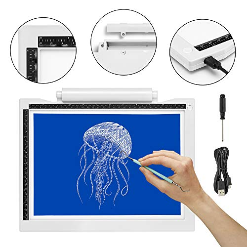 iVyne Crafting Light Pad - Battery & Cable Powered LED Light Box - Batteries Not Included -for Vinyl Weeding, Tracing, Drawing, Sketching, Crafting, and HTV Vinyl (White)