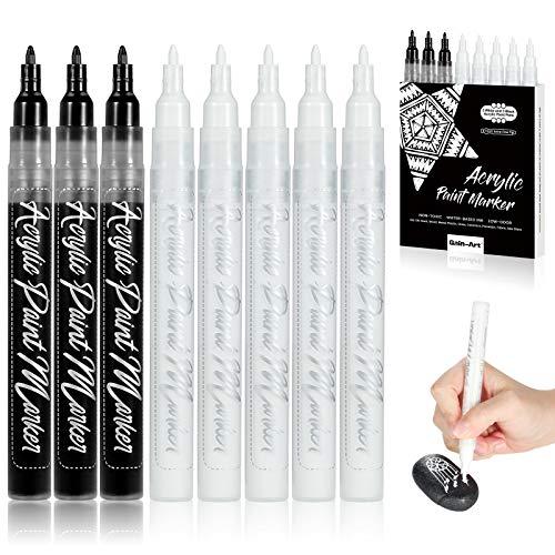 Gain-Art Weiße Acrylstifte, 8er-Pack Wasserfest Stifte Marker mit 5 weißen und 3 schwarzen Stiften, 0,7 mm extra feine Spitzen für schwarzes Papier, Glas, Stein, Plastik, Holz, Konturenmalerei
