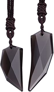 Wolentty Obsidian Couples Necklace Wolf Tooth Amulet Spike Necklaces Jewelry for His Hers Christmas