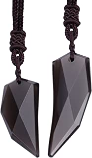 Obsidian Couple Necklace Spike Amulet Pendant Necklace for Men Women Anniversary Gift
