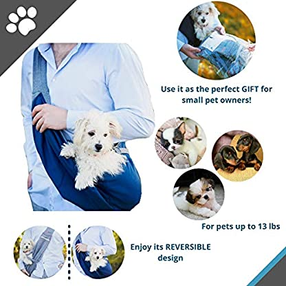 BuddyTastic Pet Sling Carrier Dog Bag | Reversible and Hands-Free | Adjustable Strap and Pocket | Comfortable Travel with Dog Cat Puppy | Up to 15 lbs 6