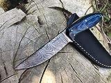 Perkin Cuchillo Caza Cuchillo de Acero Damasco SK200