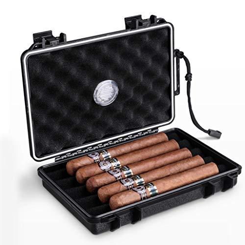 ポータブルシガーボックス気密小型シガーボックス航空PC素材5本の葉巻を収納可能 (Color : Black, Size : 22.8X14.5X4.3CM)
