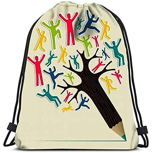 Dingjiakemao Beutel Sportbeutel Taschen Vielfalt Welt Menschen Konzept Bleistiftbaum Geschichtet Tragbare Umhängetaschen Travel Sport Gym Bag