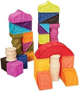 B.Toys 比乐 罗马城堡软浮雕积木 无毒可啃咬 牙胶 感官训练 早教玩具 数字形状认知  婴幼儿童益智玩具 礼物 6个月+ BX1003NTZ