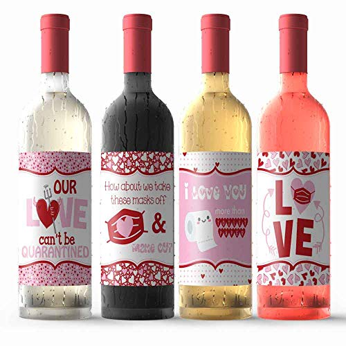Pandemic Themed Happy Valentine's Day Waterproof Wine Bottle Sticker Wrappers, 4 3.75' x 4.75' Wrap Around Labels by AmandaCreation (WINE NOT INCLUDED)