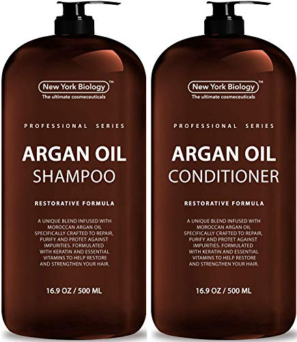 New York Biology Moroccan Argan Oil Shampoo and Conditioner - All Natural - Moisturizing and Volumizing Professional Series Restorative Formula - Infused with Keratin and Sulfate Free - Huge 16 oz