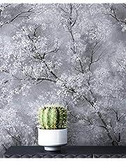 Newroom behang grijs vliesbehang licht glanzend - bloemenbehang bloemen wit zwart boom bladeren patroon behang modern natuur incl. behanggids