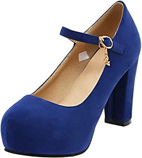 KIKIVA Women Platform Mary Janes Block Heel Ankle Strap Pumps