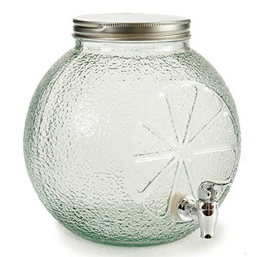 TU TENDENCIA ÚNICA Tarro con Grifo Dispensador de Cristal de 7L. Tapa de Metal. Diseño de Cítricos. Medidas 27x26x25,5 cm