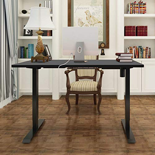 FlexiSpot EN1B-R5528B Electric Height Adjustable Desk, 55 x 28 Inches, Home Office Sit Stand Up Desk(Black Frame +55 inch Black Top)