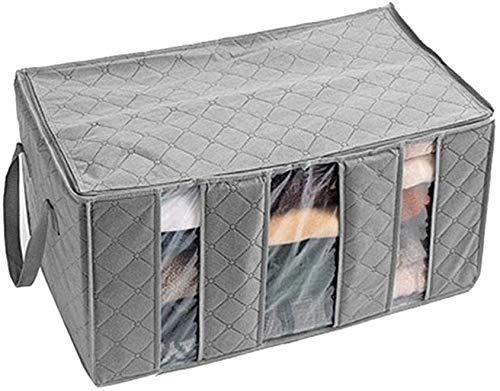 YLLN Organizador de bolsa de almacenamiento de ropa de 3 secciones con asa reforzada de tela gruesa para edredones, mantas, ropa de cama, plegable con cremallera resistente, ventana transparente 1 pie